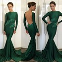 Emerald Green Lace Applique Long Sleeve Open Back Formal Dress