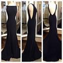 Black Sleeveless Backless Floor Length Formal Dress With Train