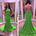 Green Open Back Embellished Sleeveless Long Prom Dress With Train