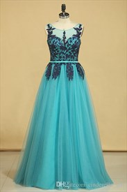 Turquoise Lace Applique Sleeveless Long Tulle Formal Gown