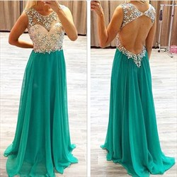 Turquoise Sheer Bodice Beaded Top Open Back Long Prom Dress