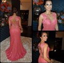 Coral Illusion Bodice Embellished Sheer Back Long Formal Dress