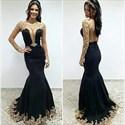 Black Sheer Long Sleeve Open Back Applique Mermaid Evening Dress
