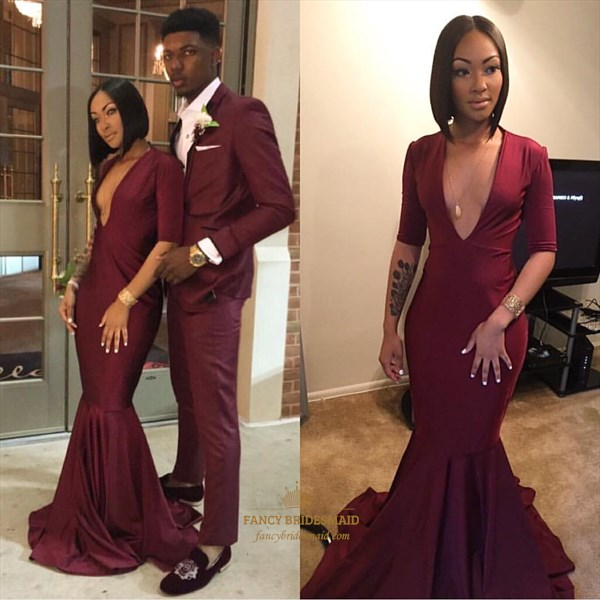 Burgundy V Neck Mermaid Long Prom Dress With Half Sleeves