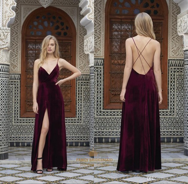 Burgundy V Neck Spaghetti Strap Long Prom Dress With Slits