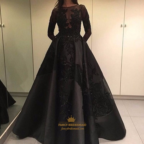 Black Lace Applique Long Sleeve Floor Length Ball Gown Prom Dress