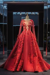 Red Sheer Lace Applique Ball Gown Evening Dress with Long Sleeve