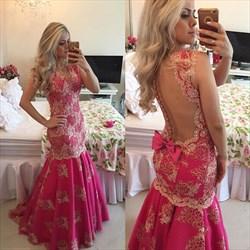 Hot Pink Beaded Lace Applique Sheer Back Full Length Formal Dress