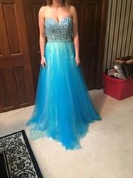 Aqua Blue Strapless Beaded Bodice A Line Full Length Prom Dress