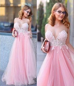 Pink Strapless Sweetheart Floral Applique Full Length Formal Dress