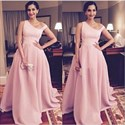 Pink Elegant One Shoulder Long Ball Gown Formal Dresses