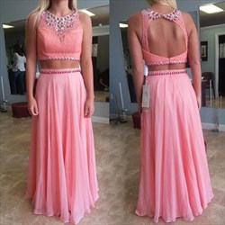 Coral Two Piece Beaded Lace Bodice Backless Chiffon Long Formal Dress
