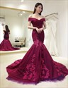 Burgundy Off The Shoulder Embellished Mermaid Long Formal Dress