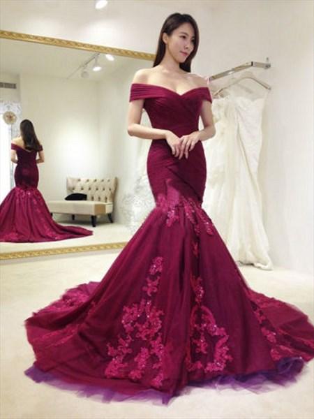 Burgundy Off The Shoulder Embellished Mermaid Long Formal Dress
