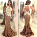 Two Tone Lace Applique Open Back Mermaid Long Formal Dress