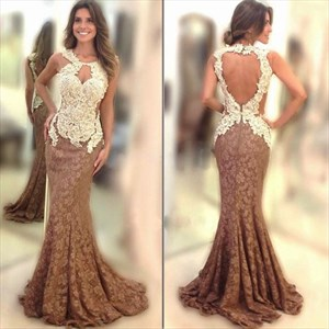 Two Tone Lace Applique Open Back Mermaid Long Formal Dress