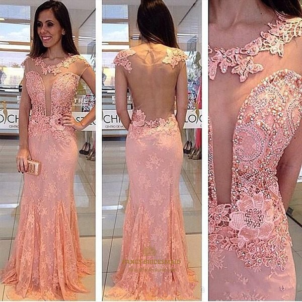 Coral Illusion Beaded Embellished Top Sheer Back Lace Prom Dress