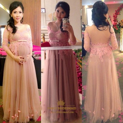 Pink Off The Shoulder Long Sleeve Sheer Applique Bodice Pregnant Dress