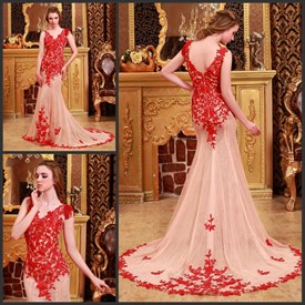 Red V Neck Lace Applique Sheer Back Mermaid Formal Dress With Train