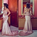 Pink Long Sleeve Illusion Bodice Mermaid Formal Dress With Train