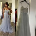 Light Blue Spaghetti Strap Sweetheart Beaded Top Long Formal Dress