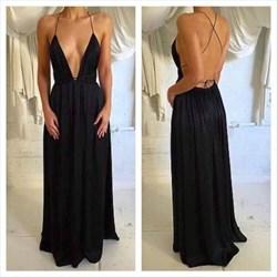 Black V Neck Spaghetti Strap Open Back Long Chiffon Evening Dress