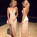 Blush Pink Spaghetti Strap V Neck Applique Split Sheath Prom Dress