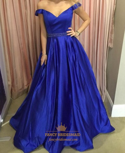 Royal Blue Off The Shoulder Beaded Waist Ball Gown Formal Gown