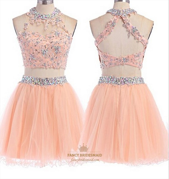 Coral High Neck Two Piece Beaded Embellished Short Cocktail Dress