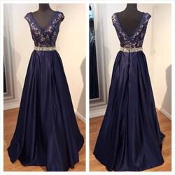 Navy Blue V Neck Cap Sleeve A Line Lace Top Long Evening Dress