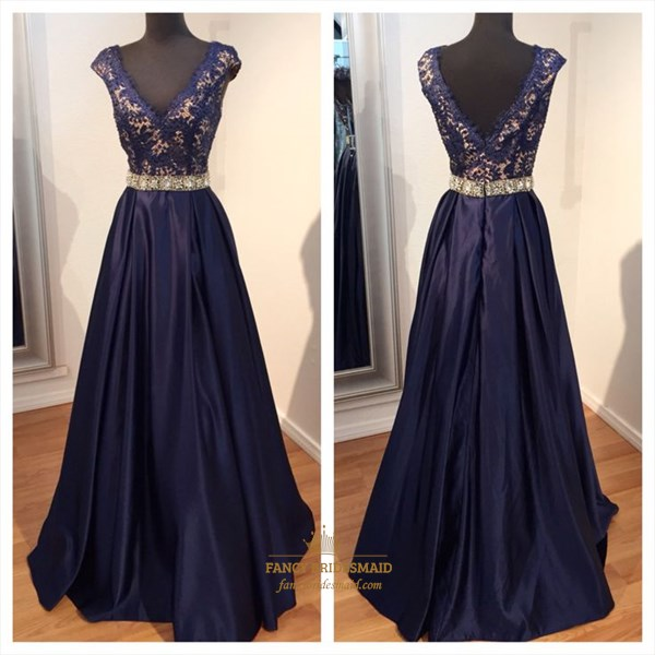 Navy Blue V Neck Cap Sleeve A Line Lace Top Long Evening Dress