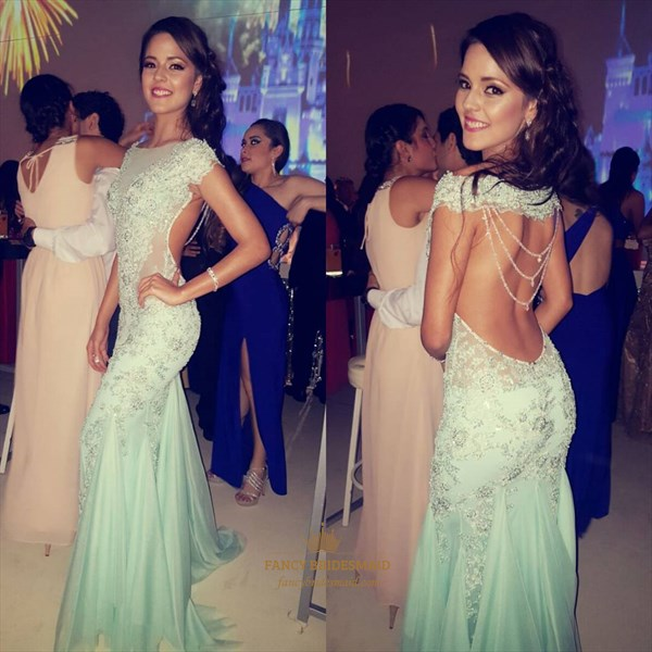Mint Green Sheer Lace Applique Open Back Mermaid Long Evening Gown