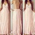 Pink Spaghetti Strap V Neck Open Back Ruched Full Length Formal Dress
