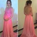 Coral V Neck Lace Top Open Back Pregnancy Dresses For Wedding