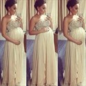 Ivory Strapless Beaded Top A Line Long Pregnancy Chiffon Prom Dress