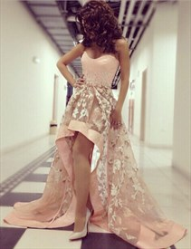 Pink Strapless Sweetheart Lace Applique Short High Low Evening Dress