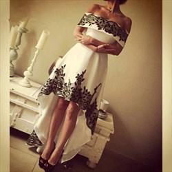 White Off The Shoulder Lace Applique Short High Low Evening Dress