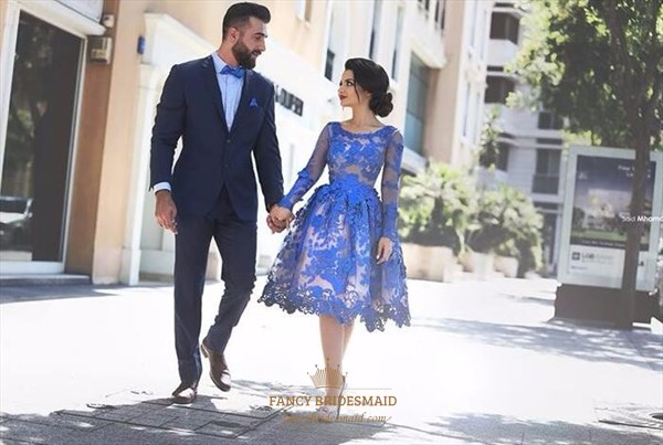 Royal Blue Sheer Lace Applique Long Sleeve Short Formal Dress