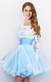 Light Blue Sheer Applique Backless Long Sleeve Short Prom Dress