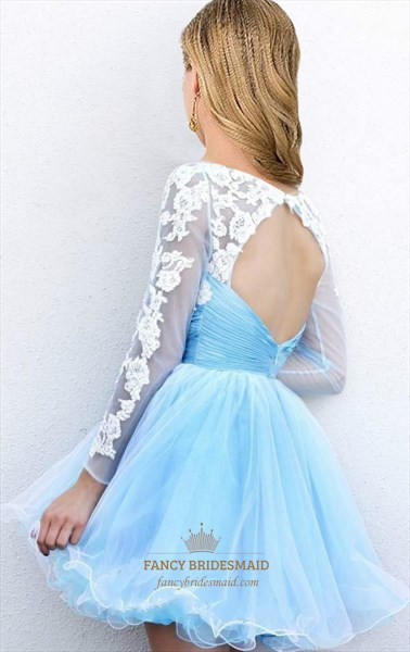 Light Blue Sheer Applique Backless Long Sleeve Short Prom Dress