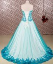 Blue Strapless Sweetheart Lace Applique Floor Length Prom Puffy Gown