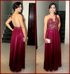 Burgundy One Shoulder Lace Bodice Open Back A Line Long Formal Dress