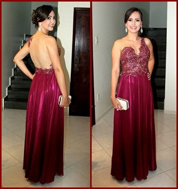 Burgundy One Shoulder Lace Bodice Open Back A Line Long Formal Dress