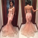 Pink Strapless Embellished Mermaid Floor Length Prom Dress
