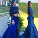 Royal Blue Two Piece High Neck Long Sleeve Lace Bodice Mermaid Dress