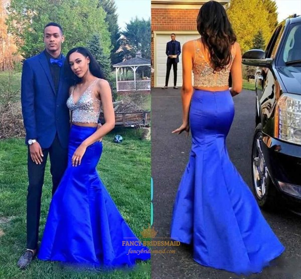 Royal Blue Two Piece V-Neck Beaded Illusion Top Mermaid Formal Dress