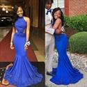 Royal Blue High Neck Embellished Open Back Mermaid Formal Dress