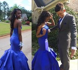 Royal Blue One Shoulder Lace Embellished Mermaid Prom Dresses