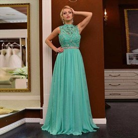 Green High-Neck Beaded Lace Bodice A Line Long Prom Gown