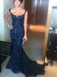 Black Cap Sleeve Sequin Full Length Mermaid Evening Dress